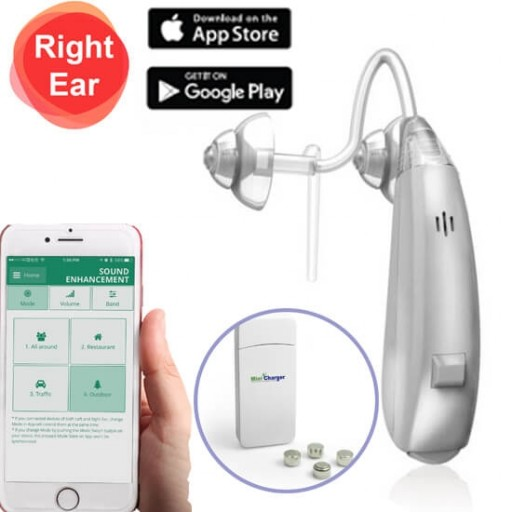EarCentric Linkx Wireless Bluetooth Hearing Aids with FREE Mobile App for iOS and Android - Right Ear - Silver - Size-13 Rechargeable Battery