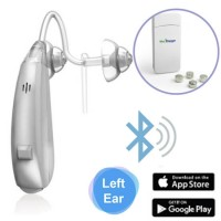 EarCentric Linkx Wireless Bluetooth Hearing Aids with FREE Mobile App for iOS and Android - Left Ear - Silver - Size-13 Rechargeable Battery